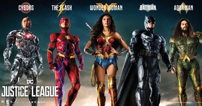 Bannière du film Justice League avec tous les héros