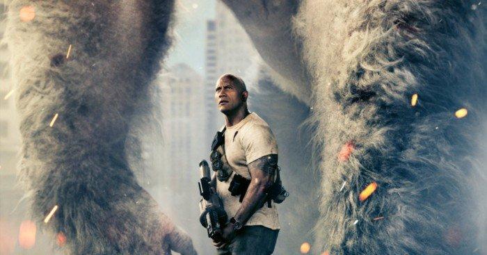Poster du film Rampage avec Dwayne Johnson et George