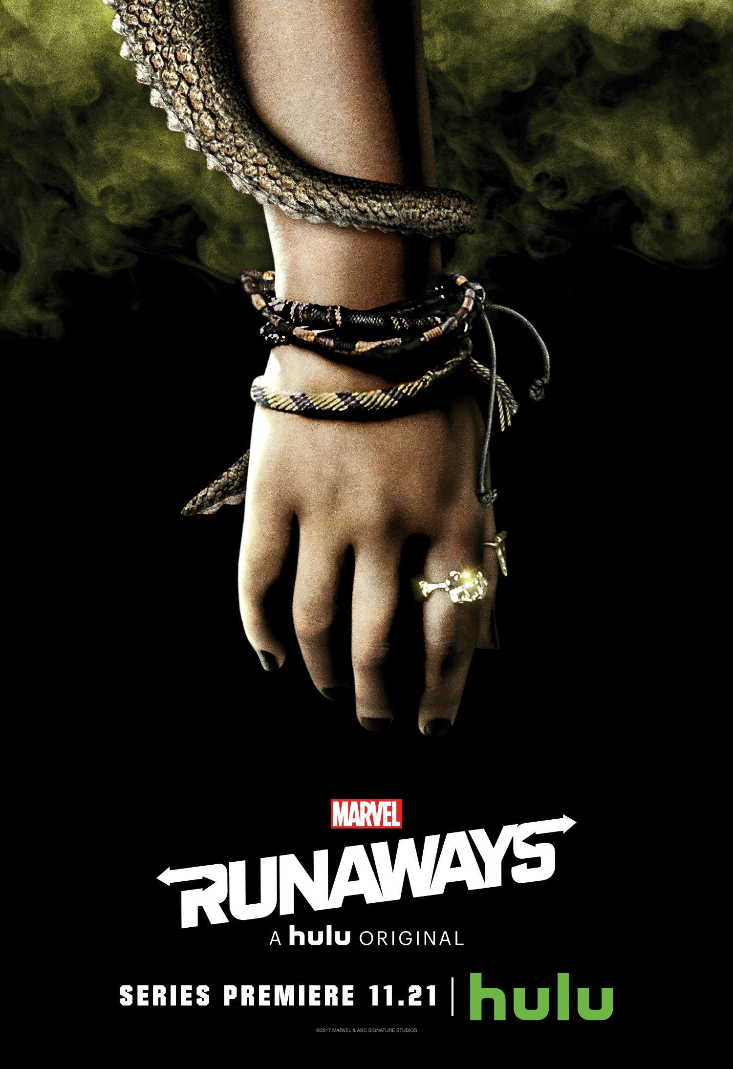 Poster de la saison 1 de Runaways avec le poing de Gert Yorkes