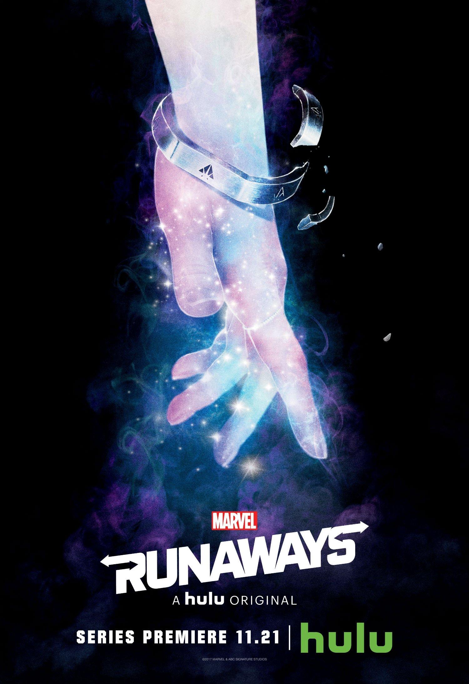 Poster de la saison 1 de Runaways avec le poing de Karolina Dean