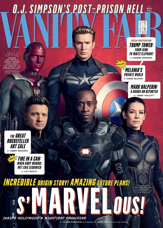 Couverture de Vanity Fair avec Captain America, Vision, Hawkeye, War Machine et The Wasp
