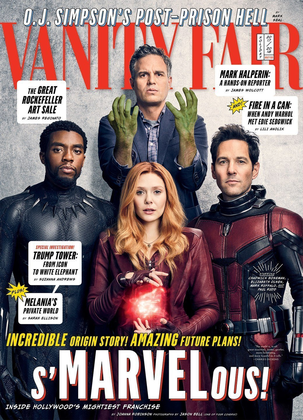 Couverture de Vanity Fair avec Hulk, Black Panther, Ant-Man et Scarlet Witch