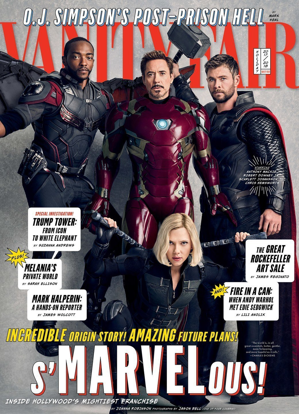 Couverture de Vanity Fair avec Falcon, Iron Man, Thor et Black Widow