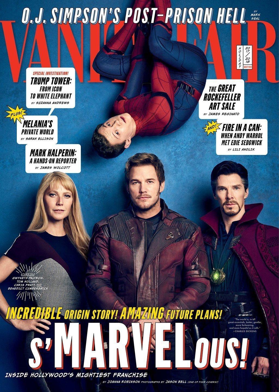 Couverture de Vanity Fair avec Spider-Man, Pepper Potts, Star-Lord et Doctor Strange