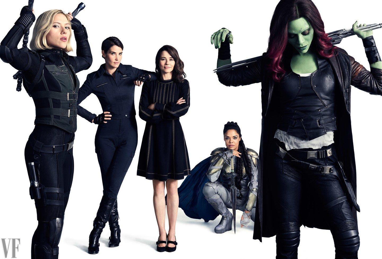 Photo de Vanity Fair avec Black Widow, Maria Hill, Laura Barton, Valkyrie et Gamora