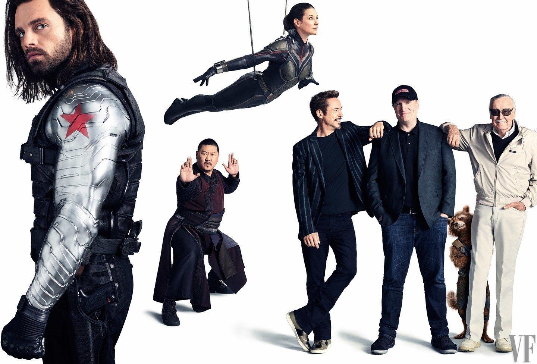 Photo de Vanity Fair avec Winter Soldier, Wong, The Wasp, Iron Man, Kevin Feige et Stan Lee