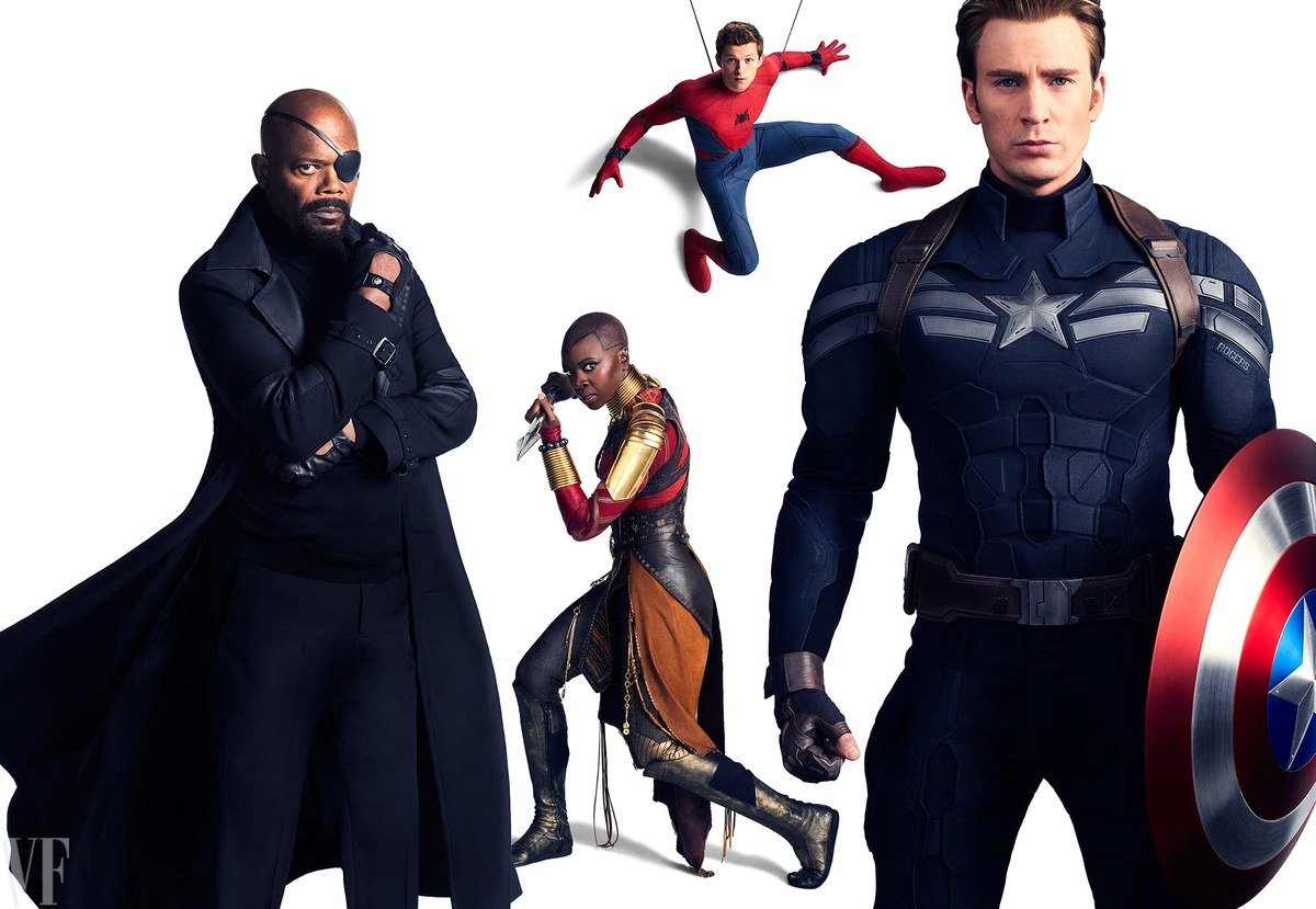 Photo de Vanity Fair avec Nick Fury, Okoye, Spider-Man et Captain America