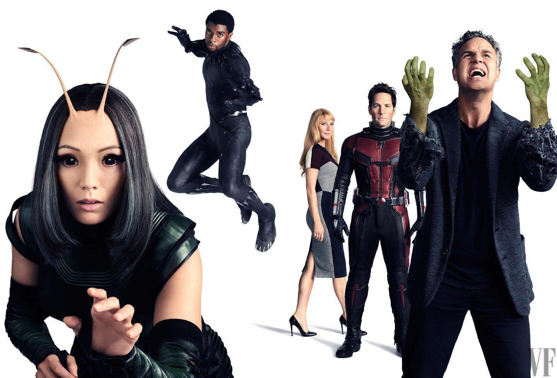 Photo de Vanity Fair avec Mantis, Black Panther, Pepper Potts, Ant-Man et Hulk