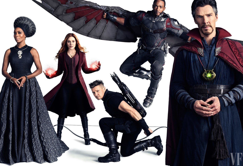 Photo de Vanity Fair avec Ramonda, Scarlet Witch, Hawkeye, Falcon et Doctor Strange