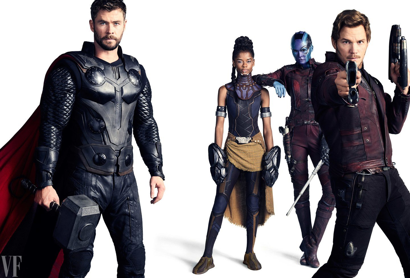 Photo de Vanity Fair avec Thor, Shuri, Nebula et Star-Lord