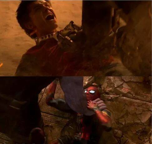Photos d'Avengers: Infinity War et Spider-Man: Homecoming avec Spider-Man écrabouillé