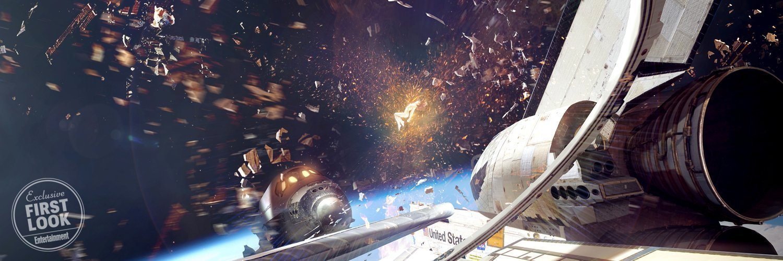 Concept art du film X-Men: Dark Phoenix avec le Phénix Noir au milieu de deux fusées