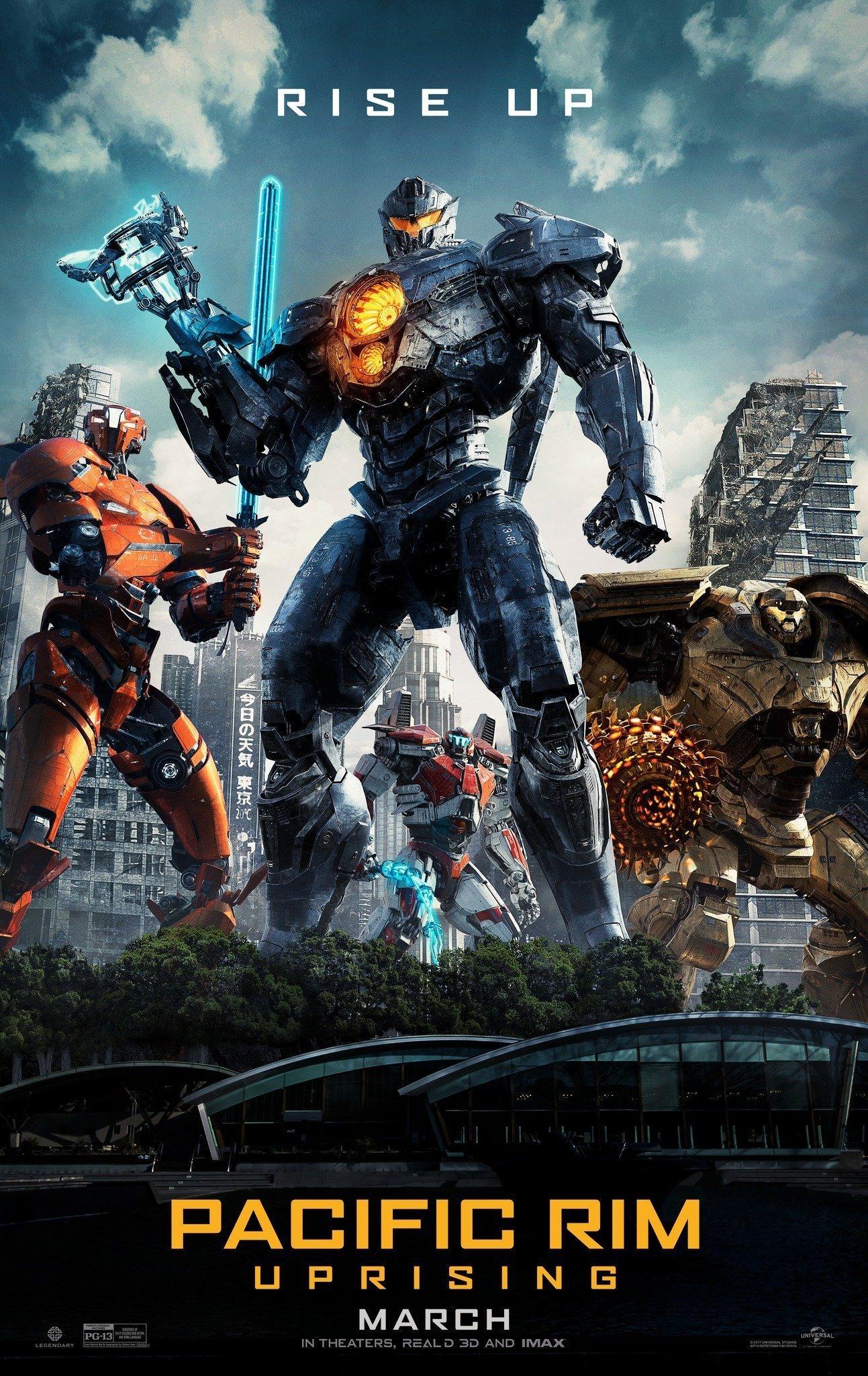 """Poster du film Pacific Rim: Uprising réalisé par Steven S. DeKnight avec la tagline """"Rise Up"""""""