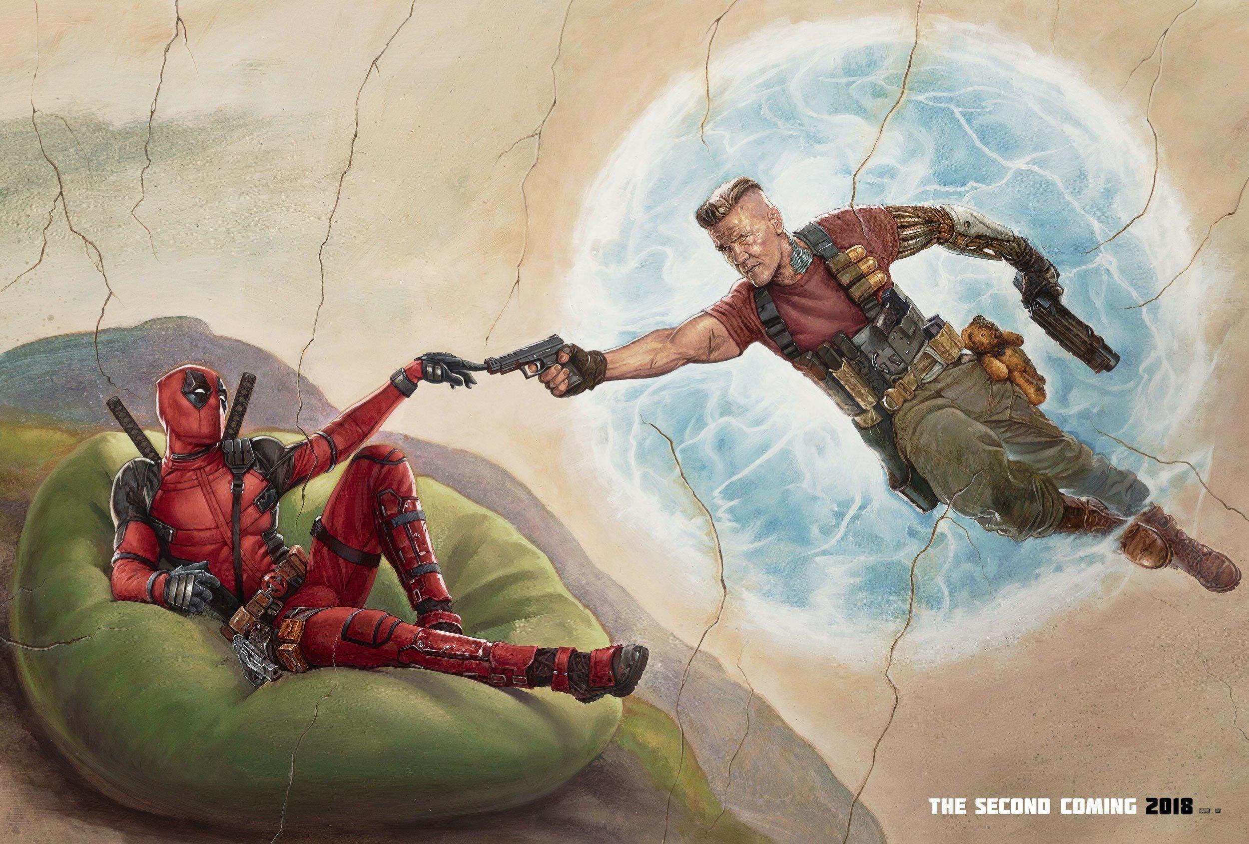 Poster pour le film Deadpool 2 parodiant La Création d'Adam de Michel-Ange