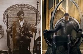 Photo de Huey P.Newton sur le siège de King en comparaison avec T'Challa