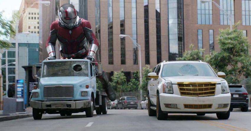 Photo du film Ant-Man et la Guêpe avec Ant-Man en train de faire du skate avec un camion