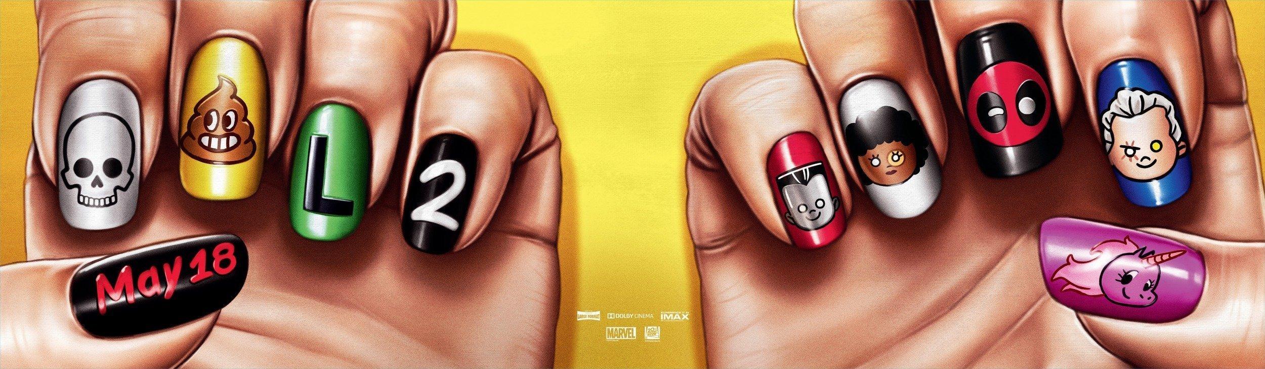 Bannière du film Deadpool 2 réalisé par David Leitch avec des vernis à ongles