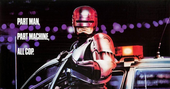 Poster du film RoboCop (1987) réalisé par Paul Verhoeven avec Peter Weller (RoboCop), Nancy Allen (Officer Anne Lewis), Kurtwood Smith (Clarence J. Boddicker), Miguel Ferrer (Bob Morton) et Ronny Cox (Dick Jones)