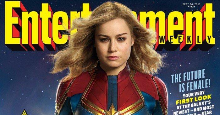 Couverture pour le numéro de septembre 2018 du magazine Entertainment Weekly avec Brie Larson en Captain Marvel