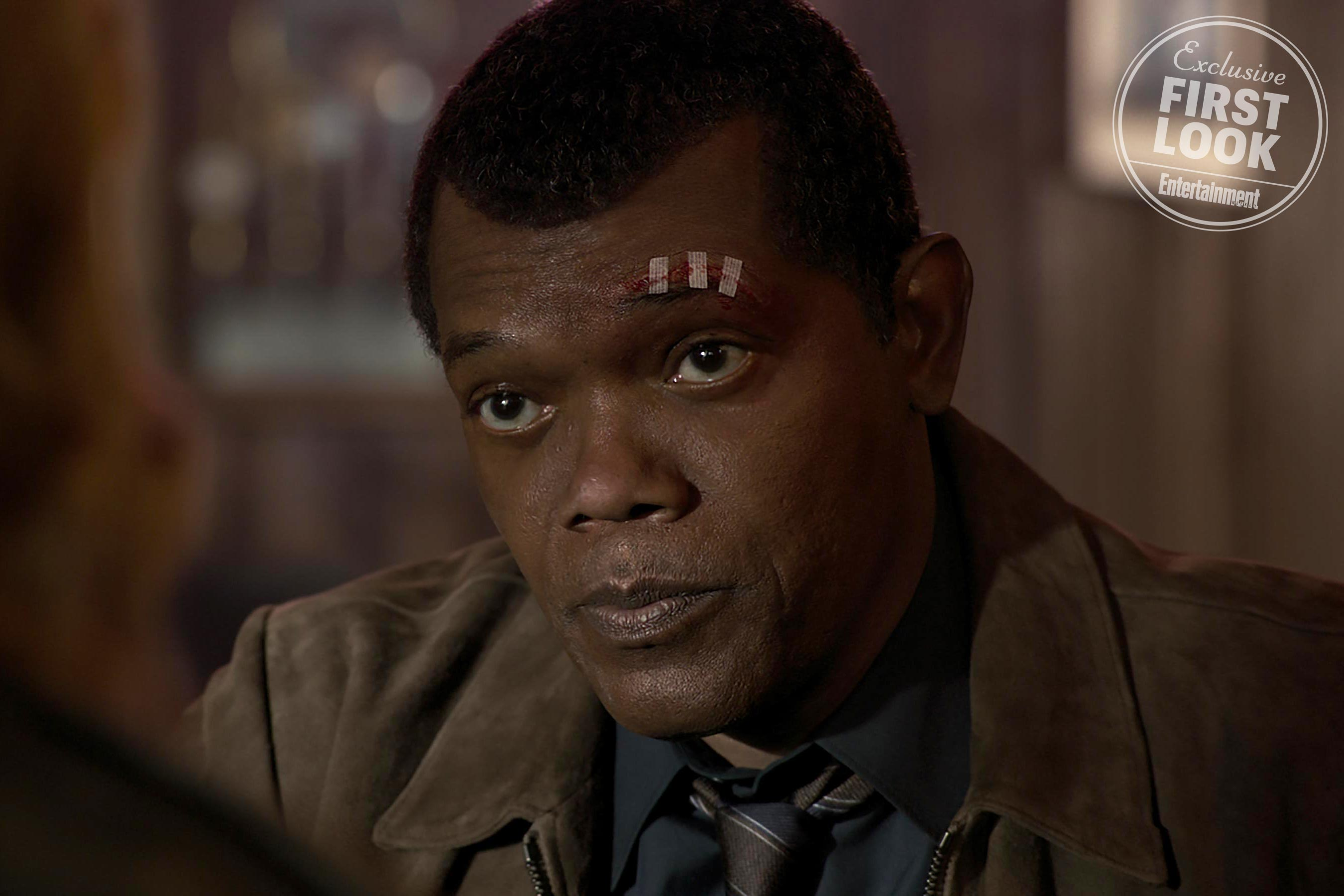 Photo du film Captain Marvel avec Samuel L. Jackson dans le rôle de Nick Fury