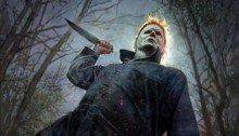Poster du film Halloween dessiné par Bill Sienkiewicz avec Michael Myers