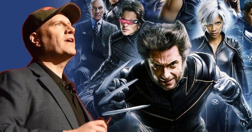 Photo présentant Kevin Feige face aux X-Men pour illustrer le retour à la maison pour les mutants