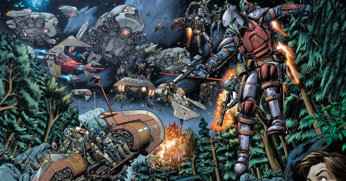 Image des Mandaloriens envahissant Vanquo dans un comic Star Wars