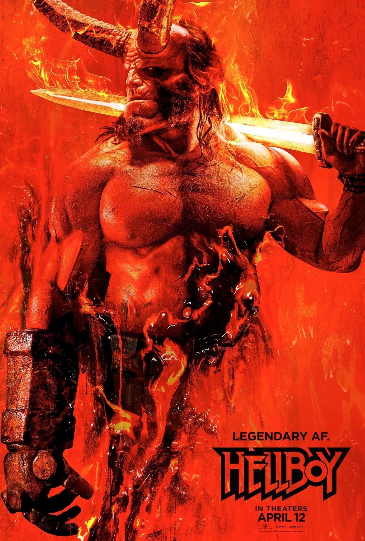 Premier poster du film Hellboy réalisé par Neil Marshall, d'après un scénario d'Andrew Cosby, avec David Harbour