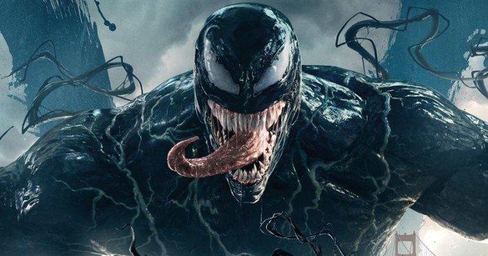 Affiche française du film Venom réalisé par Ruben Fleischer, d'après un scénario de Kelly Marcel, Scott Rosenberg et Jeff Pinkner, avec Tom Hardy, Michelle Williams, Riz Ahmed
