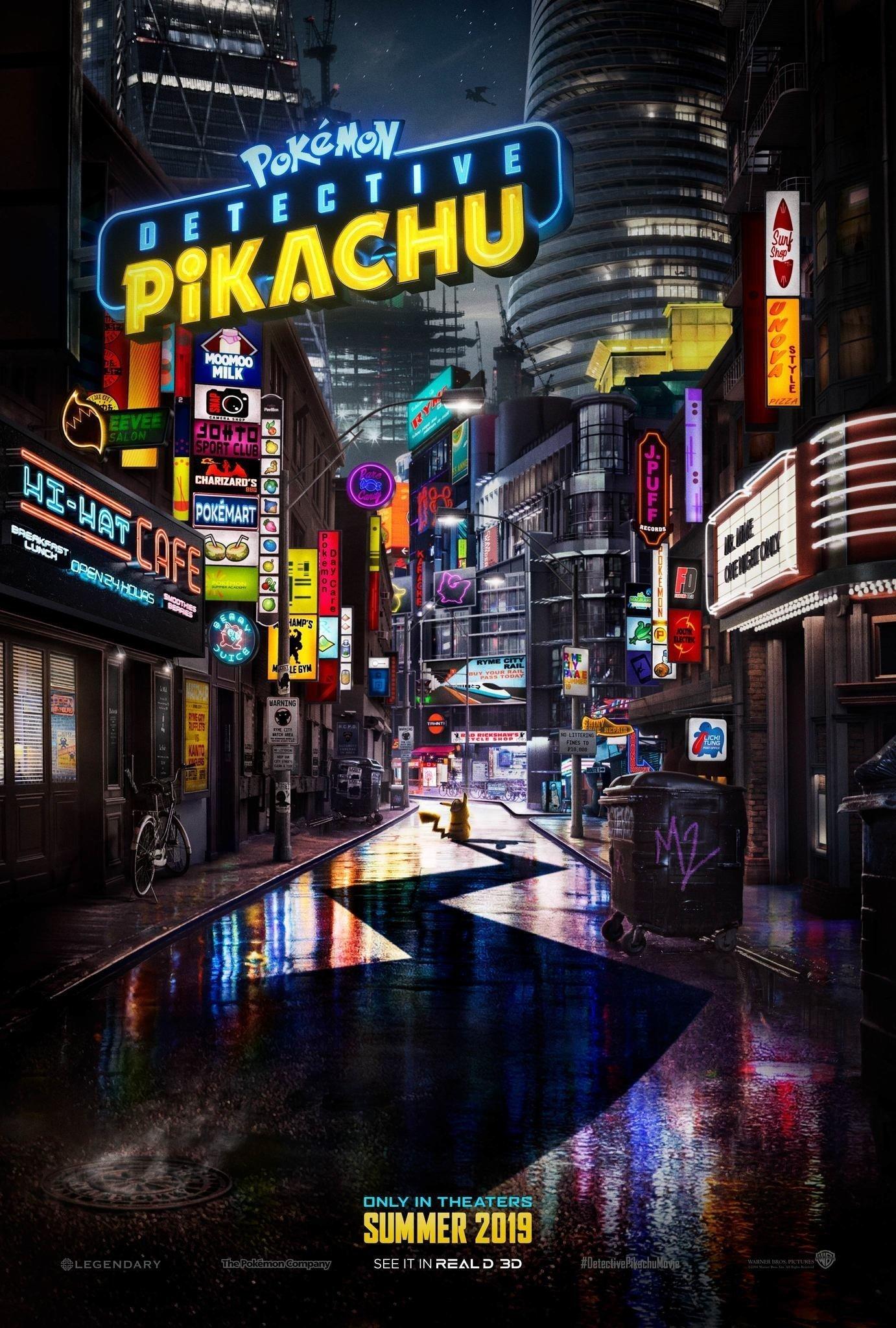 Poster teaser du film Détective Pikachu réalisé par Rob Letterman, d'après un scénario de Rob Letterman et Nicole Perlman, avec Justice Smith, Kathryn Newton, Ryan Reynolds
