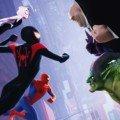 Affiche française du film Spider-Man: New Generation avec les héros contre les vilains