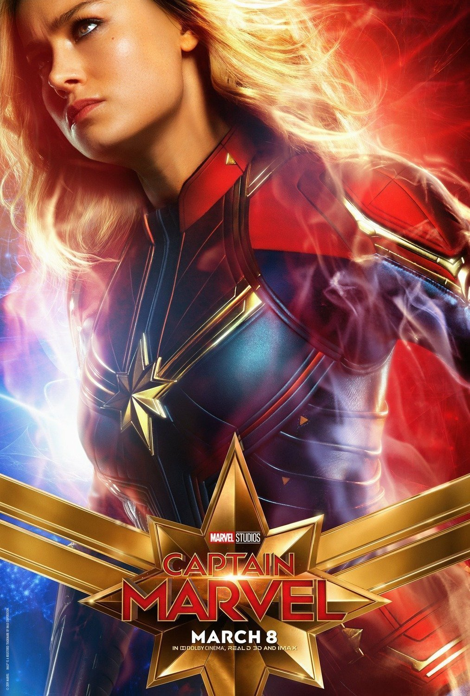 Poster du film Captain Marvel avec Brie Larson (Carol Danvers)