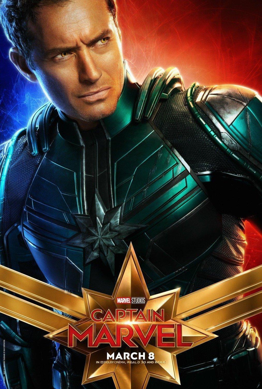 Poster du film Captain Marvel avec Jude Law (Walter Lawson)