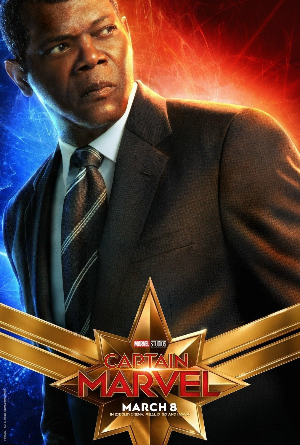 Poster du film Captain Marvel avec Samuel L. Jackson (Nick Fury)