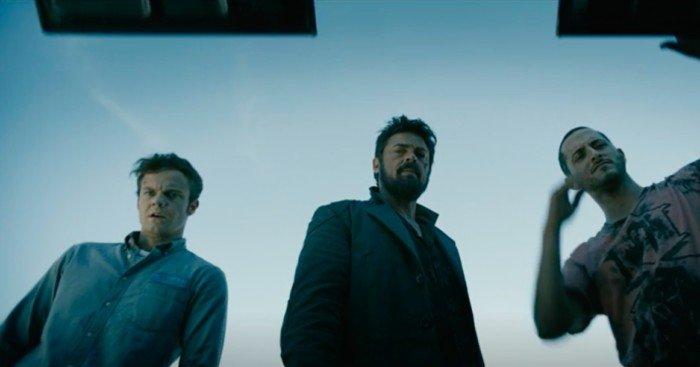 Photo pour la série The Boys avec Jack Quaid, Karl Urban et Tomer Kapon.