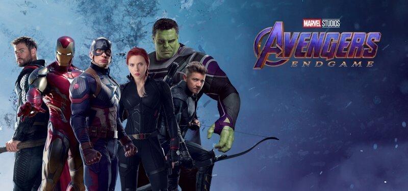Image promotionnelle du film Avengers: Endgame présentant l'équipe composé des six Avengers d'origine