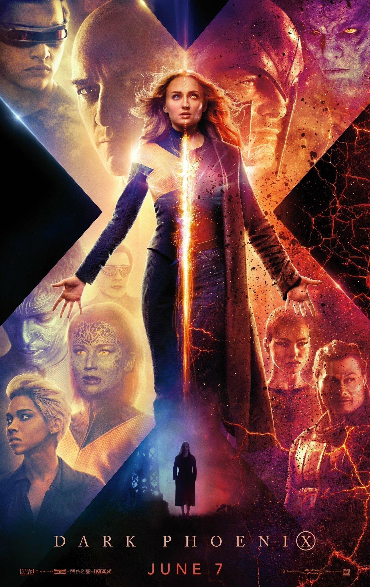 Poster du film X-Men: Dark Phoenix écrit et réalisé par Simon Kinberg avec Jean Grey (Sophie Turner)