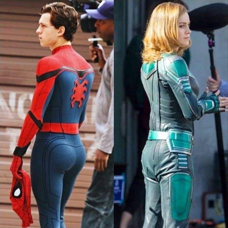 """Photos de tournage montrant les fesses de Tom """"Spider-Man"""" Holland et Brie """"Captain Marvel"""" Larson"""
