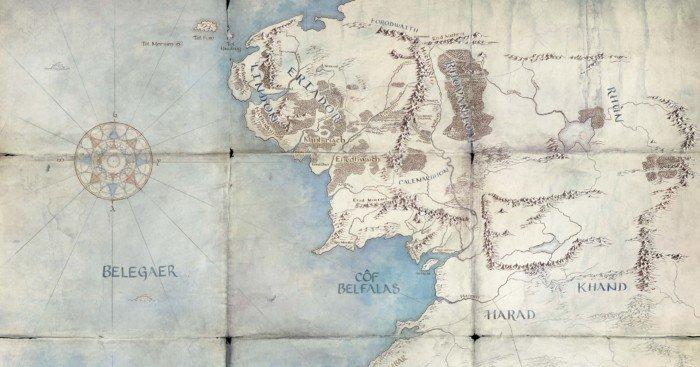 Carte de la série Amazon, Le Seigneur des Anneaux, qui se déroulera pendant le Second Âge