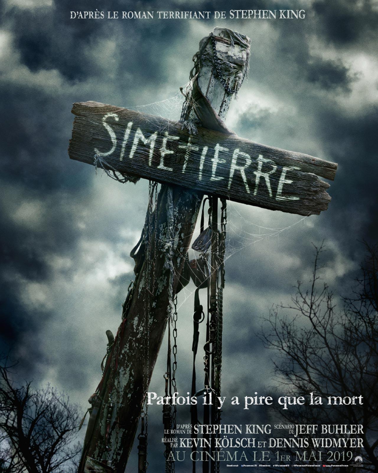 Affiche française teaser du film Simetierre (2019) réalisé par Kevin Kölsch et Dennis Widmyer avec Jason Clarke, Amy Seimetz, John Lithgow