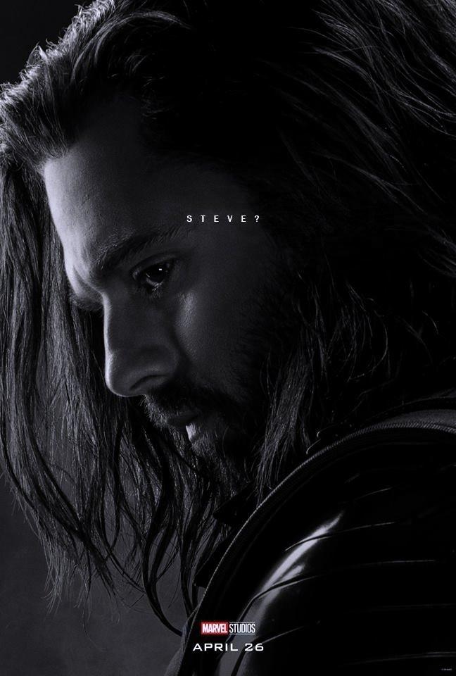 Poster du film Avengers: Endgame avec les derniers mots de Winter Soldier (Sebastian Stan)
