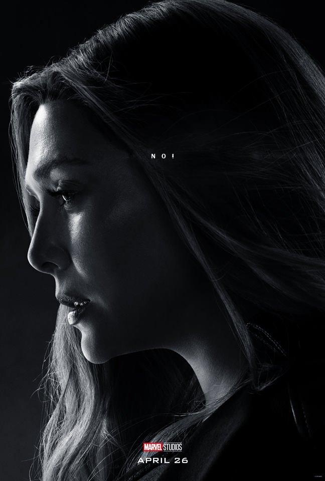 Poster du film Avengers: Endgame avec les derniers mots de Scarlet Witch (Elizabeth Olsen)