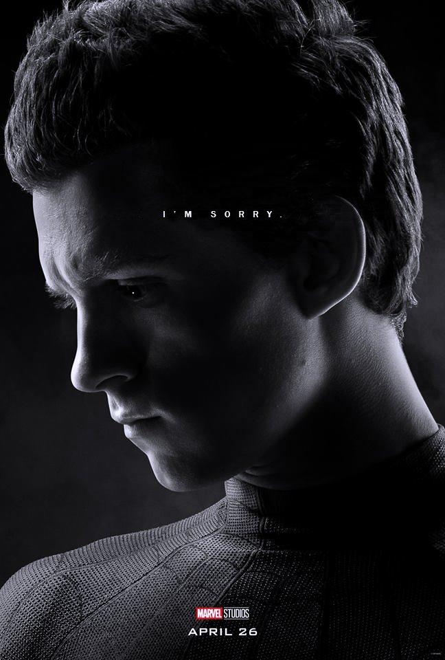 Poster du film Avengers: Endgame avec les derniers mots de Spider-Man (Tom Holland)