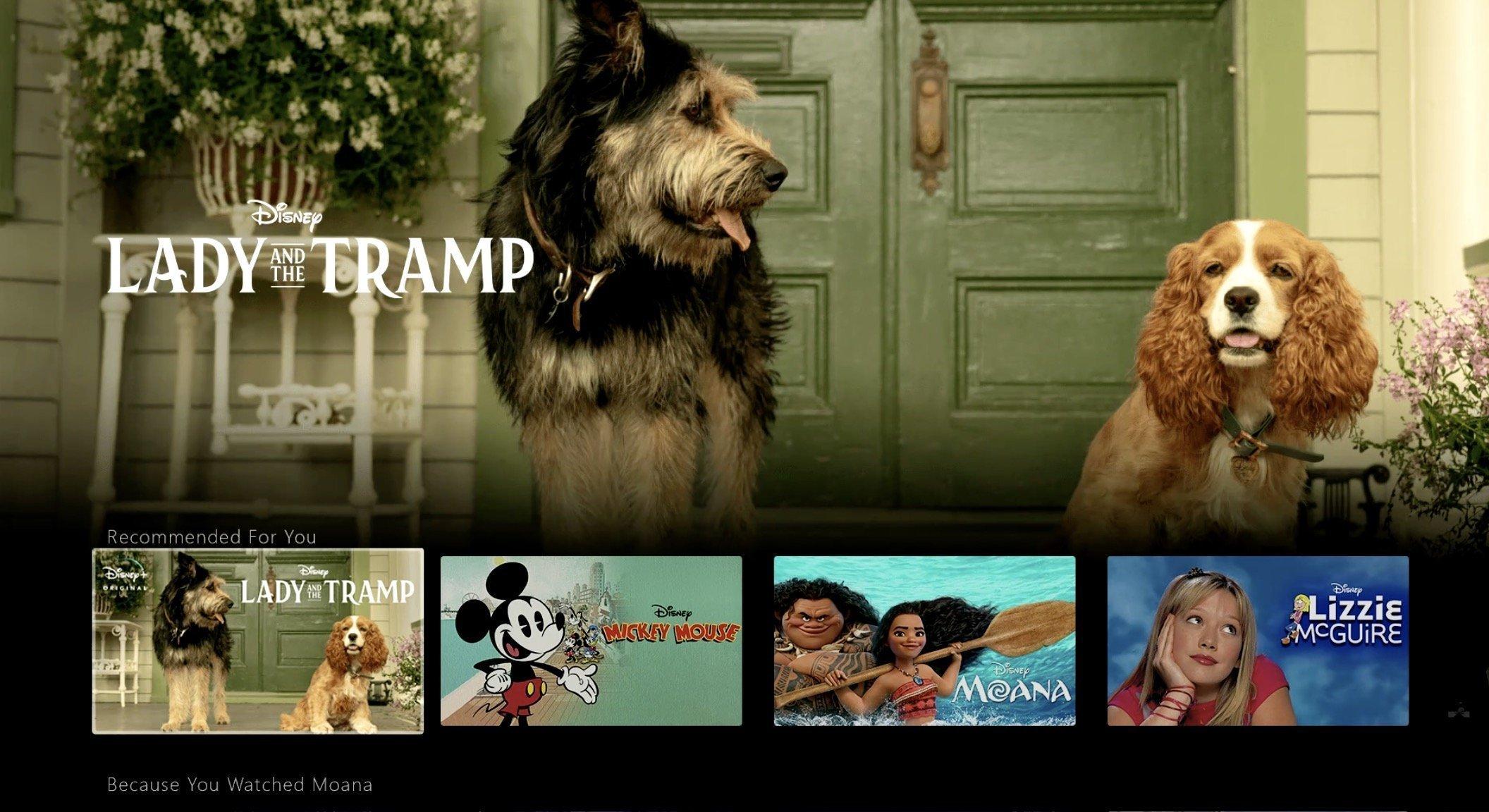 Image de l'interface Disney+ avec La Belle et le Clochard en évidence