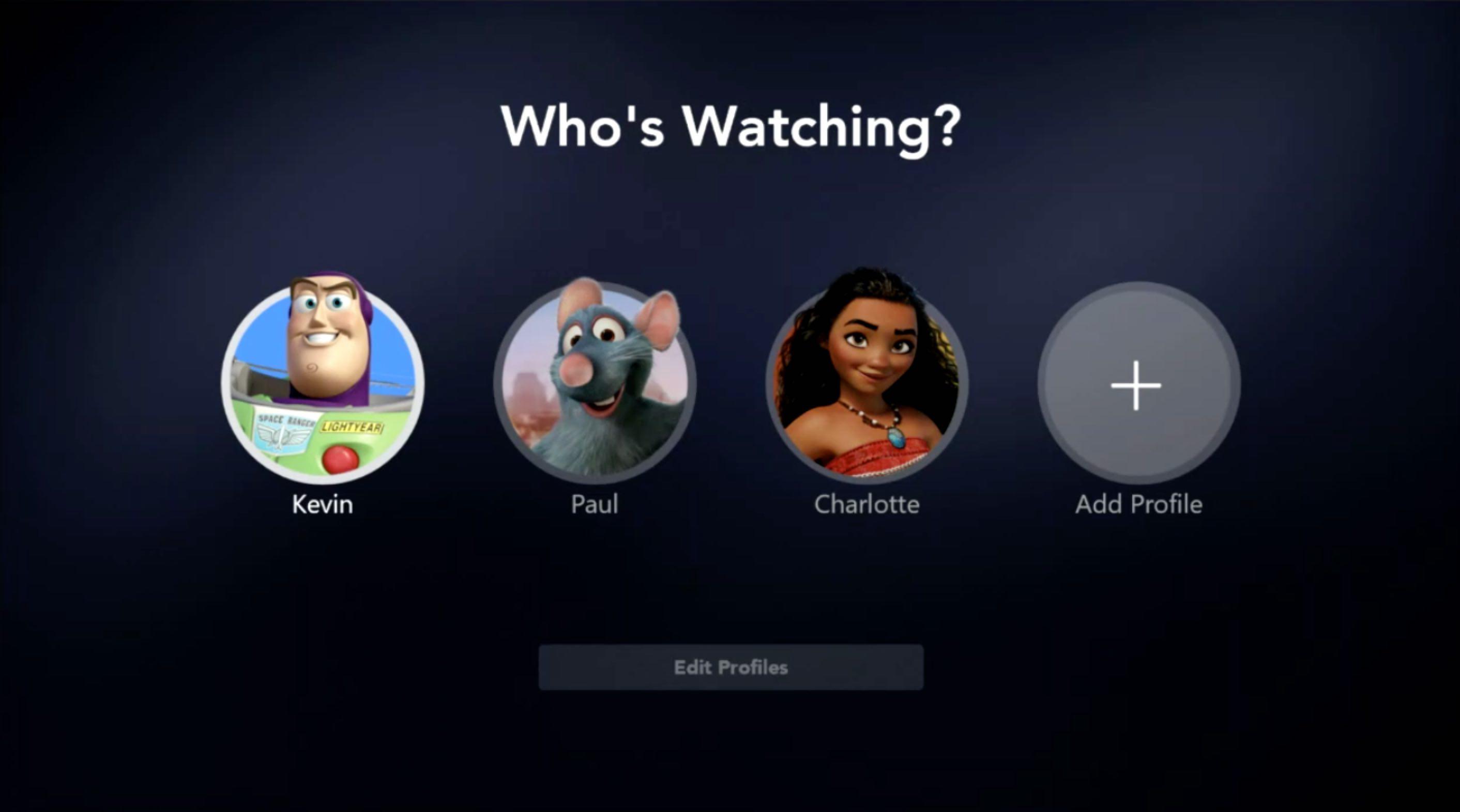 Image de l'interface Disney+ présentant les profils