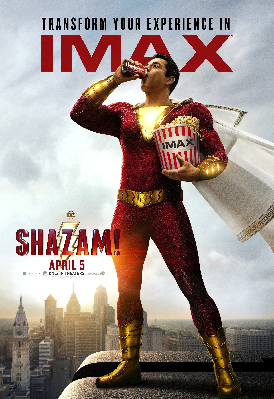 Poster IMAX du film Shazam! réalisé par David F. Sandberg avec Zachary Levi