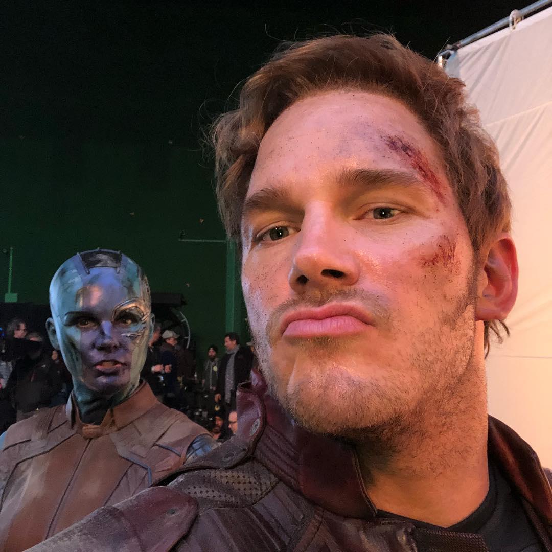 Photo du tournage du film Avengers: Endgame avec Star-Lord et Nebula