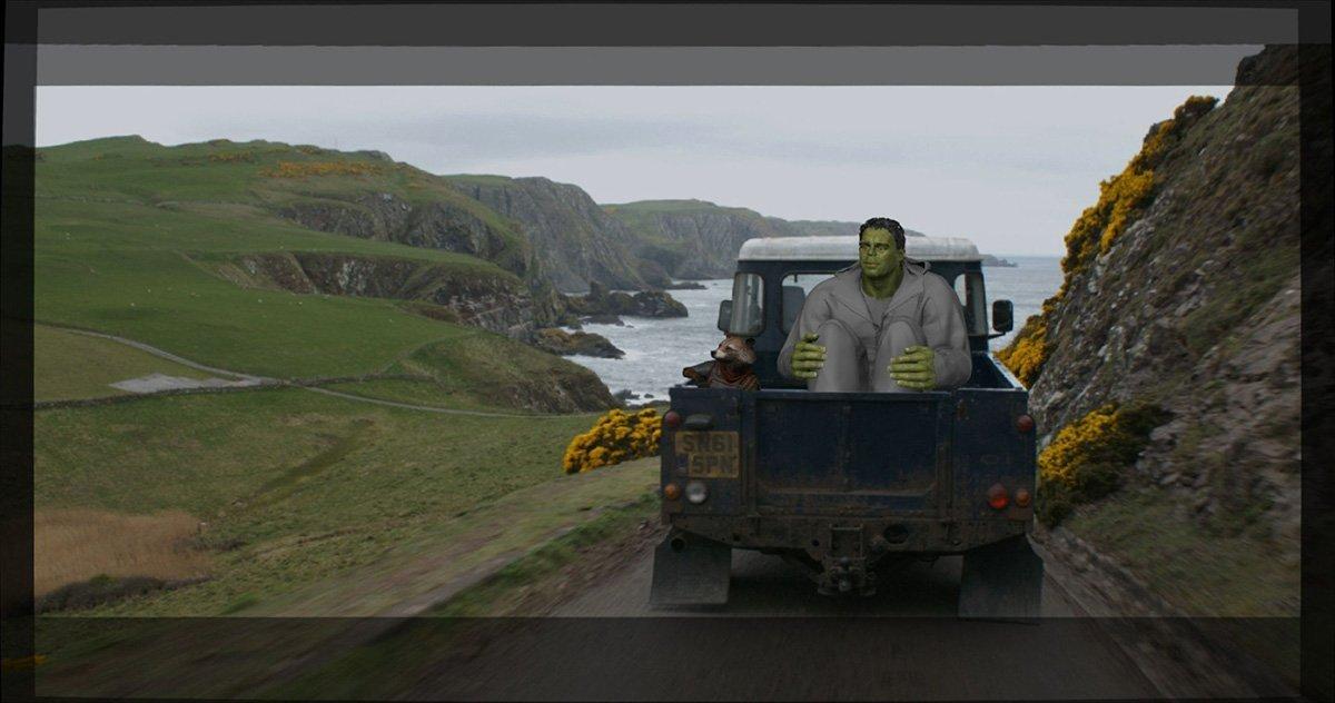 Photo du film Avengers: Endgame avec Rocket et Hulk en route vers New Asgard (Effets spéciaux)