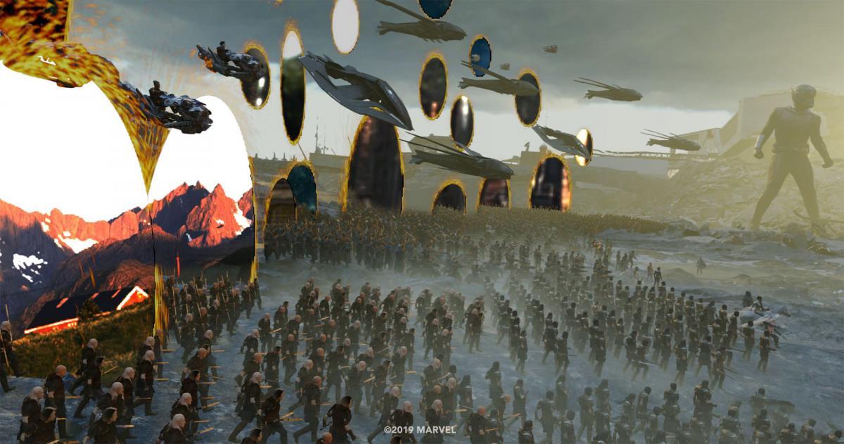 Photo du film Avengers: Endgame avec les portails (Avant)