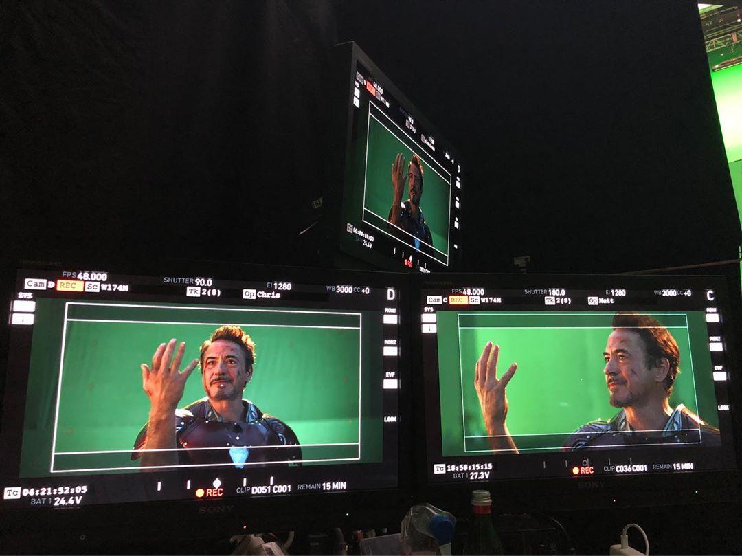 Deuxième photo du tournage du film Avengers: Endgame avec le snap de Robert Downey Jr. (Tony Stark / Iron Man)